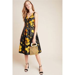 Eva Franco Eileen Jacquard Floral Midi Dress